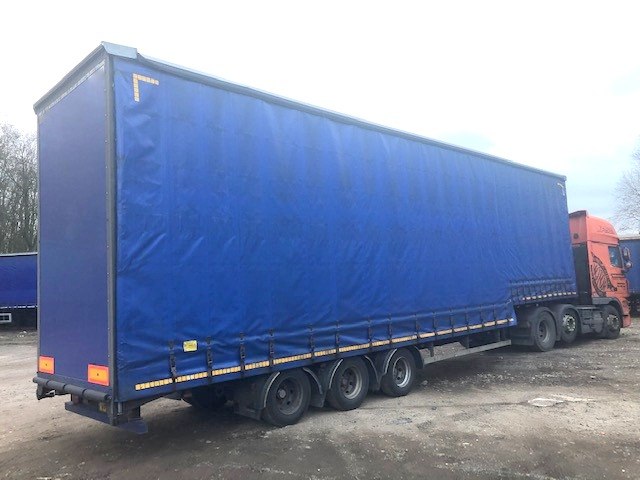 CURTAINSIDE DOUBLE DECK TRI AXLE CARTWRIGHT 4 8M 2008 STOCK NO 108494